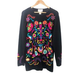 70's 3D Floral Vintage Angora Embroidered Sweater
